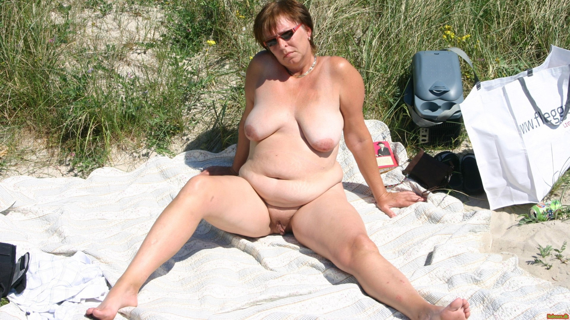 beach Fat nude woman on