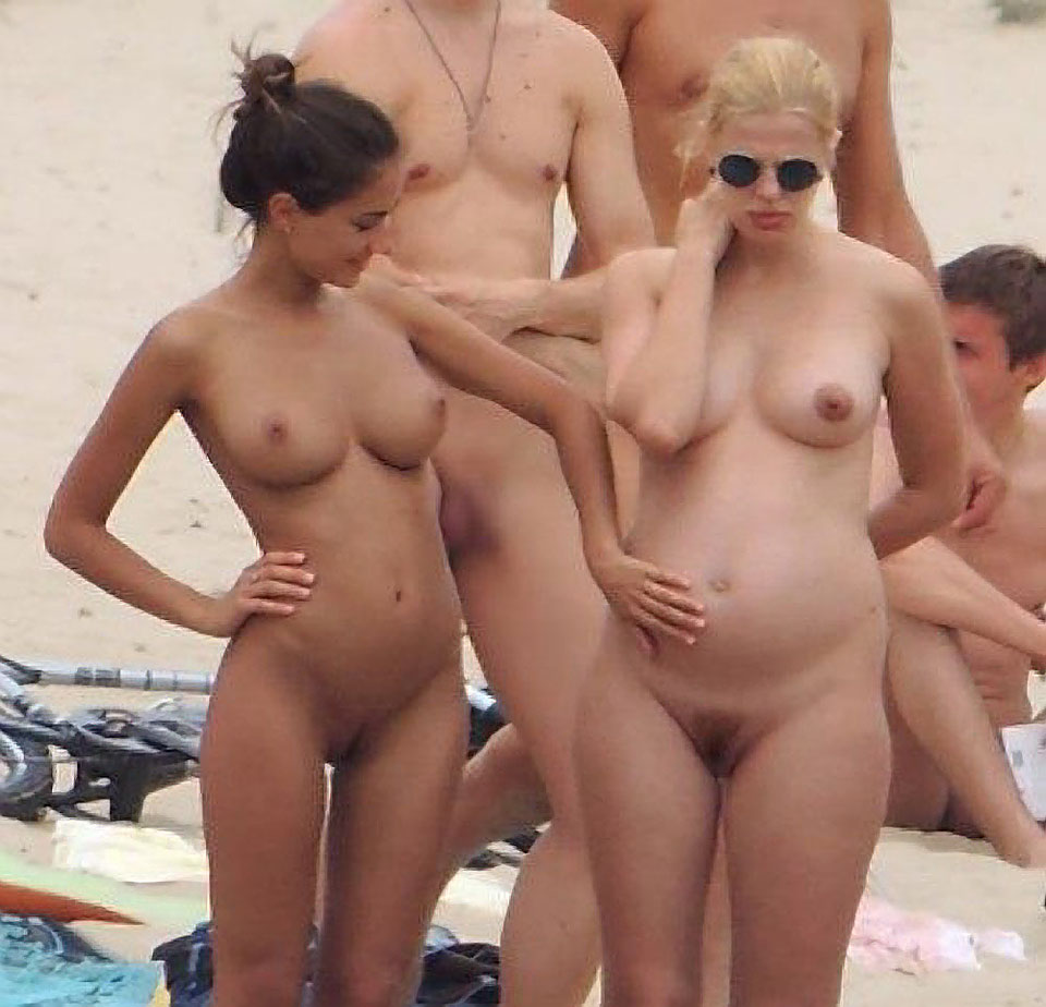 Pregnant Women On A Nudist  Naturist Beach - Pregnant -1092